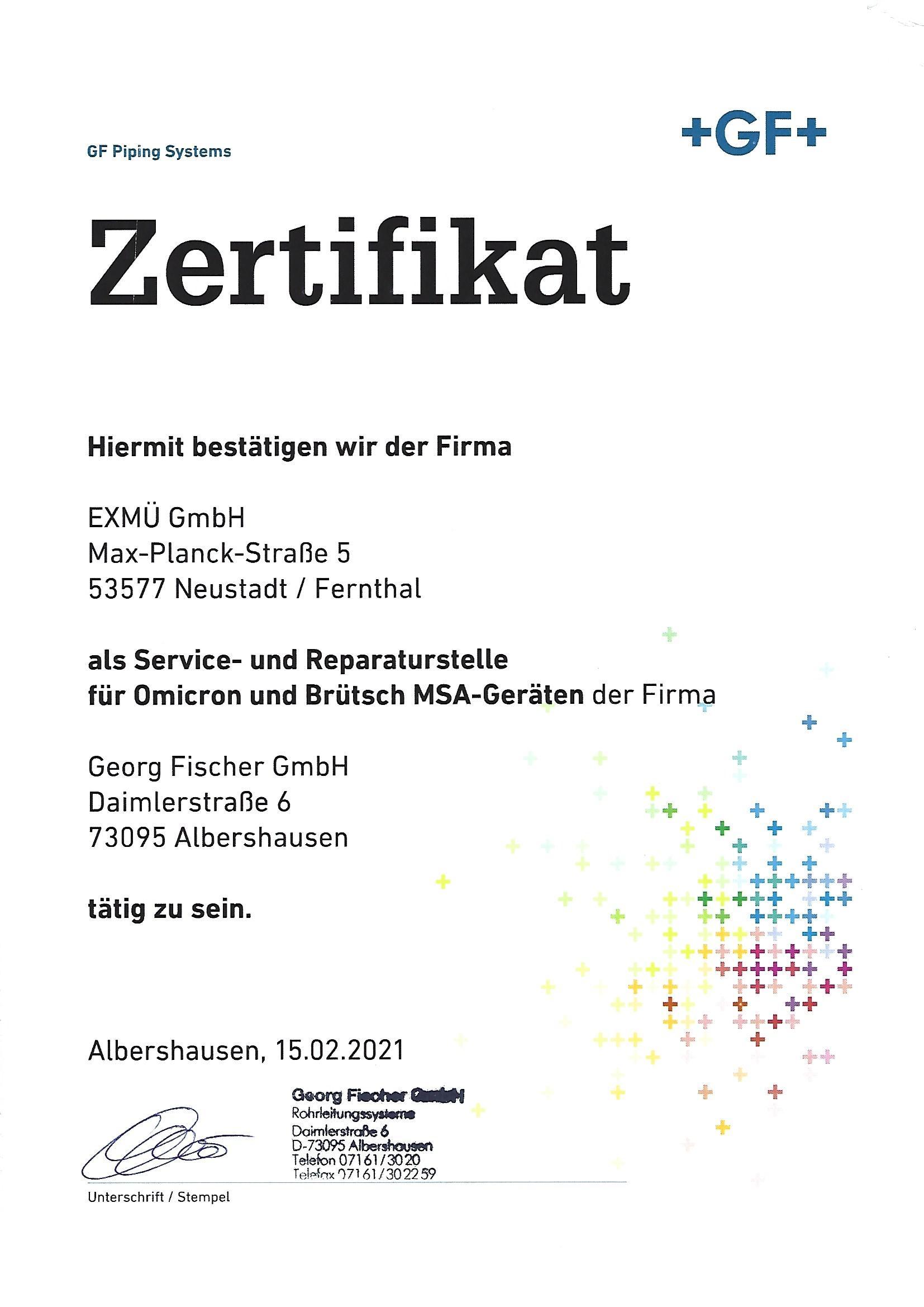 Gerog Fischer Zertifikat 1