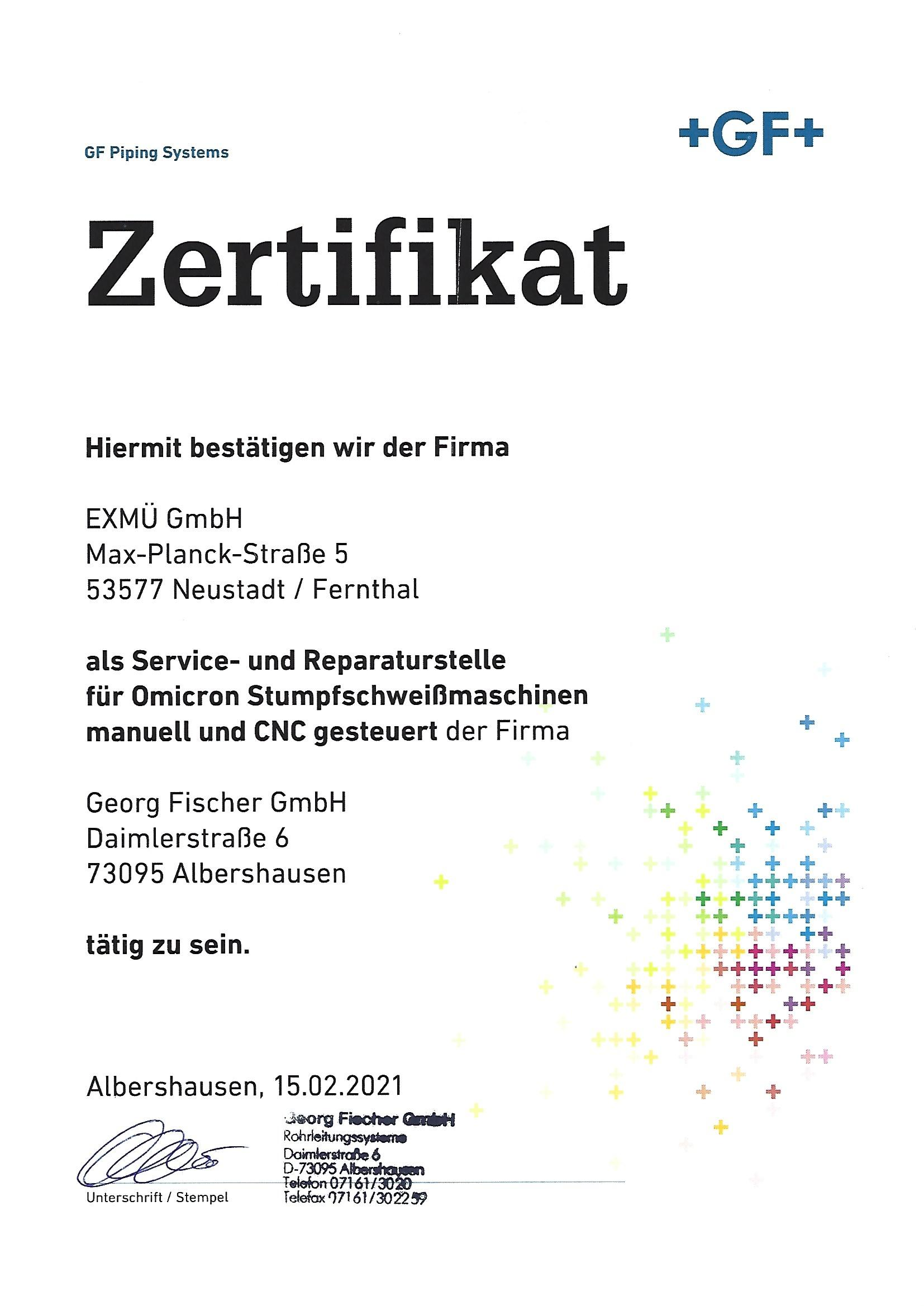 Gerog Fischer Zertifikat 2